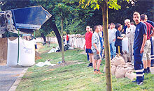 Loading flood bags onsite